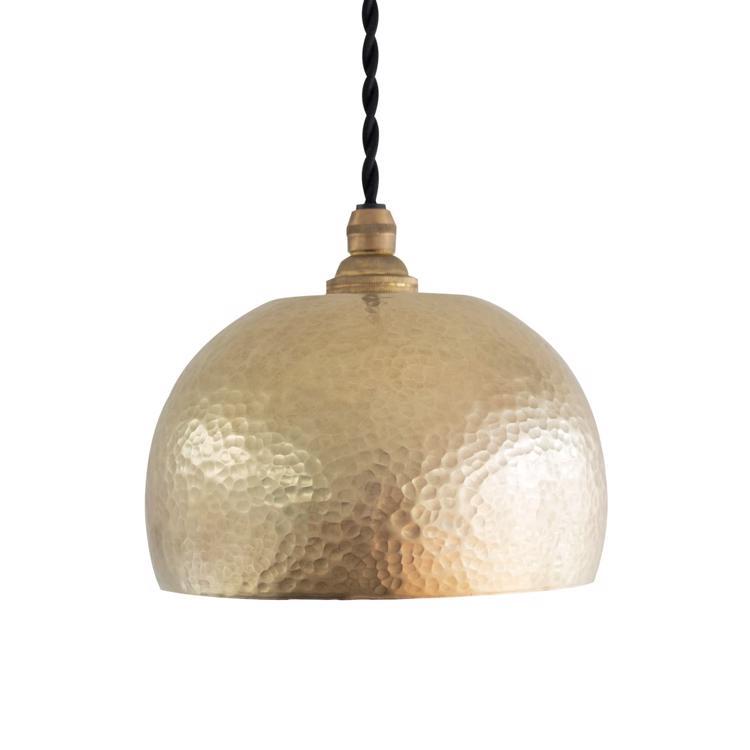 鎚目模様のシェードランプ E17 お椀型 真鍮素地