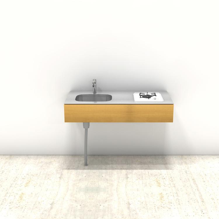木製ミニマルキッチン バーチ W1200×D550