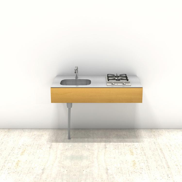 木製ミニマルキッチン バーチ W1200×D600