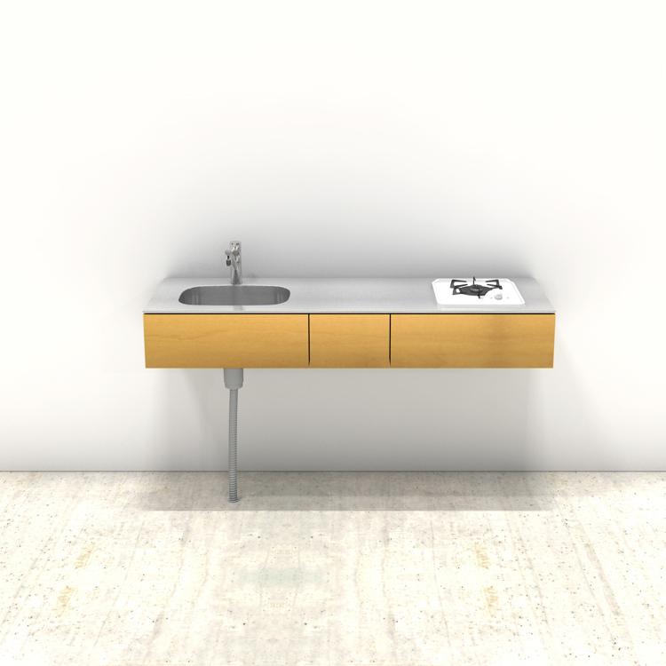 木製ミニマルキッチン バーチ W1500×D500