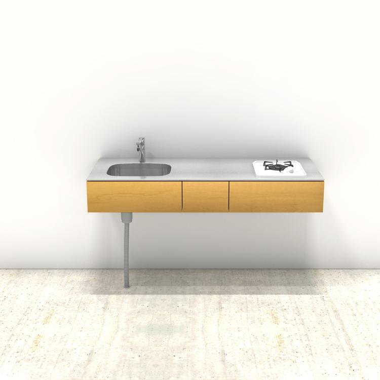 木製ミニマルキッチン バーチ W1500×D550
