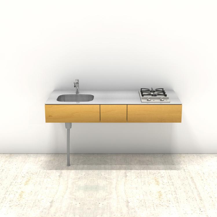 木製ミニマルキッチン バーチ W1500×D600