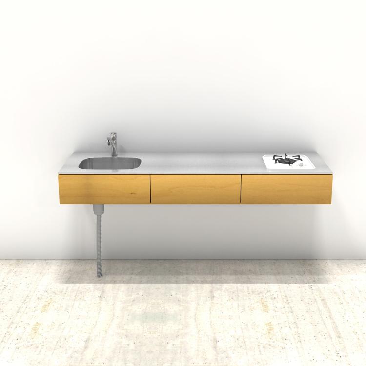 木製ミニマルキッチン バーチ W1800×D550