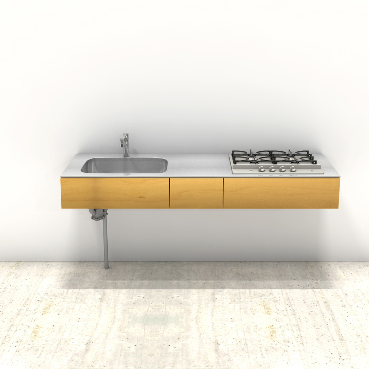 木製ミニマルキッチン バーチ W1800×D600