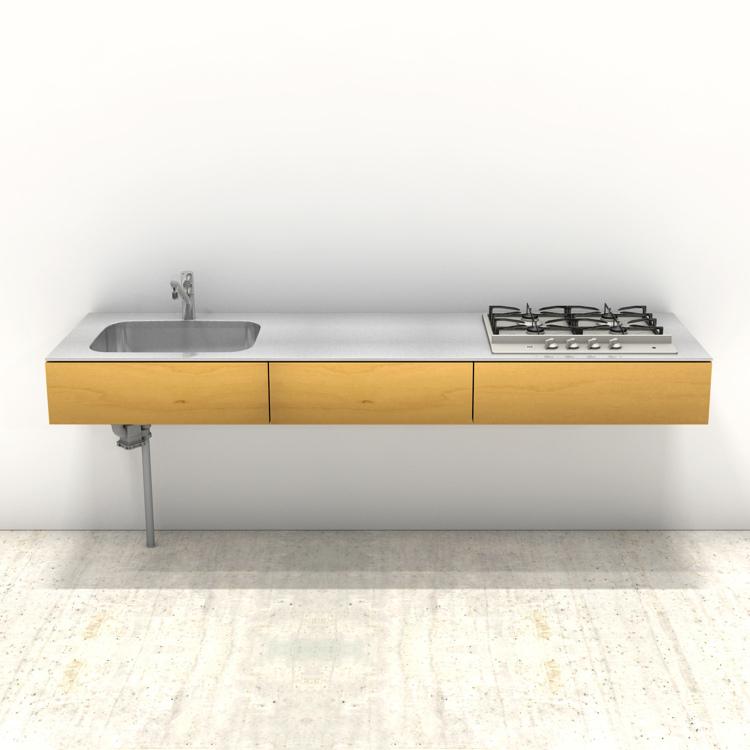 木製ミニマルキッチン バーチ W2100×D600